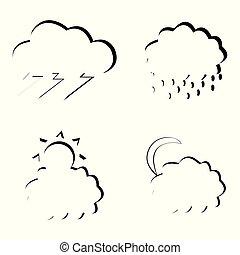 ensemble, nuages, lune, pluie, éclair, vecteur, soleil