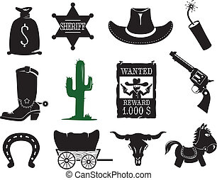 ensemble, occidental, icônes