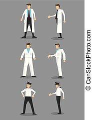 ensemble, occupation, uniforme, vecteur, blanc, icône, homme