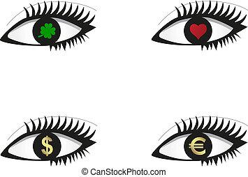 ensemble, oeil, icônes