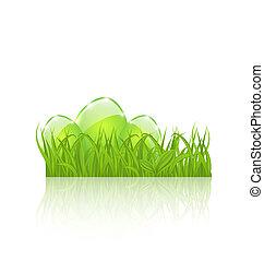 ensemble, oeufs, isolé, arrière-plan vert, blanc, herbe, paques