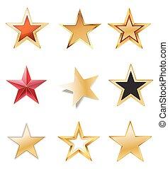 ensemble, or, couleurs, noir, étoiles, rouges