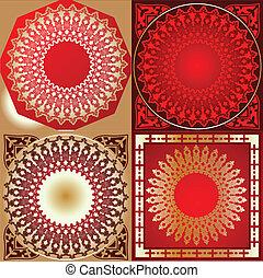 ensemble, or, ornement, divers, quad, cercle, rouges
