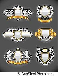 ensemble, or, vendange, héraldique, emblèmes, argent
