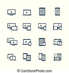 ensemble, ordinateurs, ordinateur portable, tablette, -, bureau, appareil, smartphone, icône