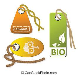 ensemble, organique, étiquettes