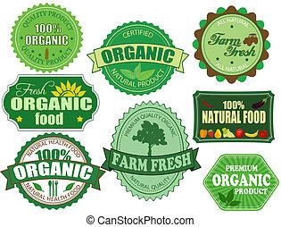 ensemble, organique, ferme, étiquettes, nourriture, frais, insignes