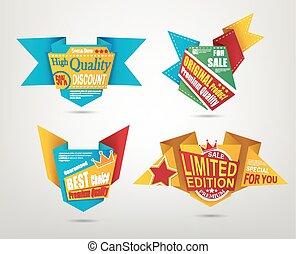ensemble, origami, conception, étiquette