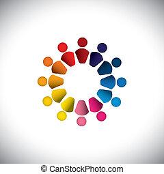 ensemble, ou, coloré, jouer, aussi, graphique, gens, vecteur, enfants, graphic., boîte, représente, circle-, amitié, play-school, équipe, gosses, icônes, bâtiment, ceci, résumé, activité, groupe, concept, etc