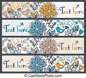 ensemble, ou, quatre, bannières, horizontal, floral, élégant, bookmarks, bannières