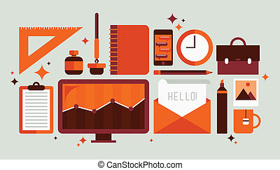 ensemble, outils, bureau, illustration