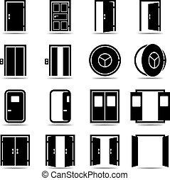 ensemble, ouvert, portes, fermé, icônes