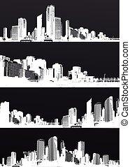 ensemble, panorama, inversé, noir, blanc, cities.