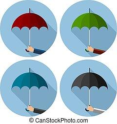 ensemble, parapluie, vecteur, plat, protection, icônes