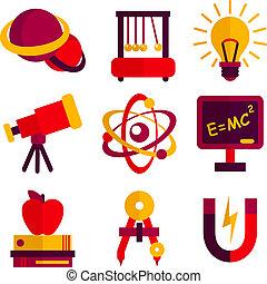 ensemble, physique, astromomie, icônes