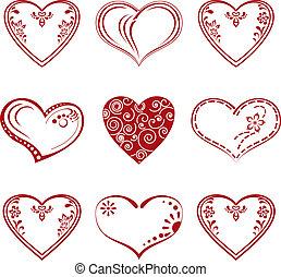 ensemble, pictogramme, coeur, valentin