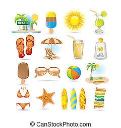 ensemble, plage, icône