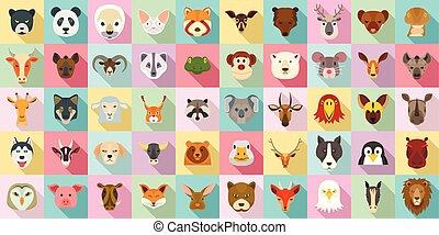ensemble, plat, style, animaux, icône