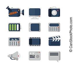ensemble, plat, vecteur, média, icônes