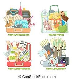 ensemble, plat, voyage, style, concepts