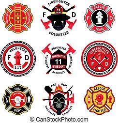 ensemble, pompier, étiquette