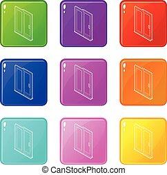 ensemble, porte, icônes, couleur, collection, 9, glissement
