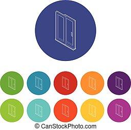 ensemble, porte, icônes, couleur, vecteur, glissement