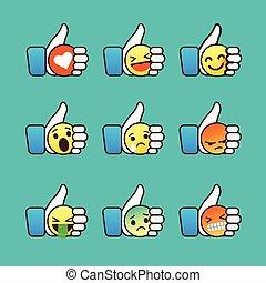 ensemble, pouce, emoticons, symbole, smiley, haut, vecteur, emoji, faces, illustration.