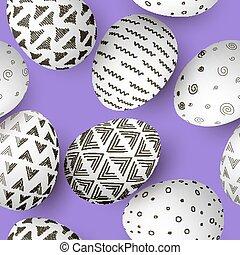 ensemble, pourpre, oeufs, pattern., seamless, décoré, simple, ornements, blanc, paques, résumé