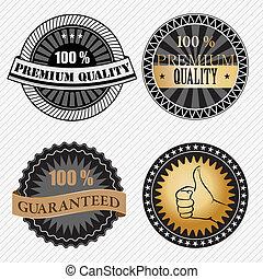 ensemble, prime, vendange, étiquettes, retro, qualité, insignes