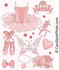 ensemble, princesse, ballerine
