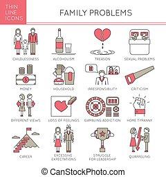 ensemble, problèmes, famille