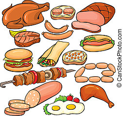 ensemble, produits, viande, icône