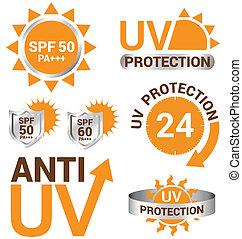 ensemble, protection, soleil, uv, vecteur, anti