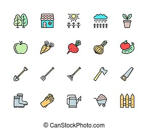 ensemble, râteau, barrière, icons., hache, ligne, champ agriculture, plus, couleur, fourche