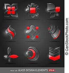 ensemble, résumé, -, verre, vecteur, éléments conception