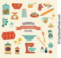 ensemble, recette, vecteur, cuisine, conception, icône