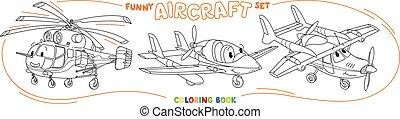 ensemble, rigolote, coloration, léger avion, avion, livre