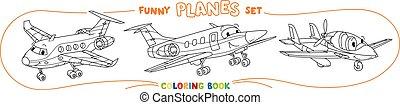 ensemble, rigolote, coloration, lumière, avions, avion, livre