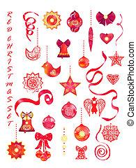 ensemble, rouges, décoratif