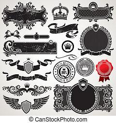 ensemble, royal, vecteur, orné, cadres, éléments