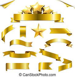 ensemble, rubans, or, étoiles