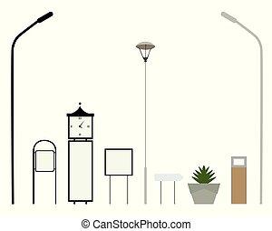 ensemble, rue, -, parc, vecteur, ou, éléments