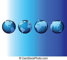 ensemble, série, global, -, vecteur, mondiale