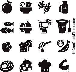 ensemble, &, sain, icônes, nourriture régime, vecteur