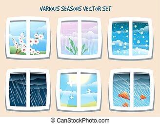 ensemble, saisons, divers, vecteur