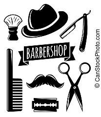 ensemble, salon coiffure, accessoire