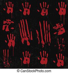 ensemble, sanglant, 01, élément, impression, main
