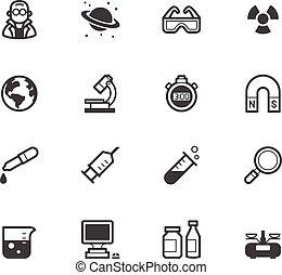 ensemble, science, élément, vecteur, arrière-plan noir, blanc, icône