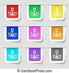 ensemble, signe., électricité, énergie, moderne, multicolore, étiquettes, vecteur, vert, icône, ton, design.